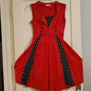 Red Pinup Style Checkerboard Detail Dress